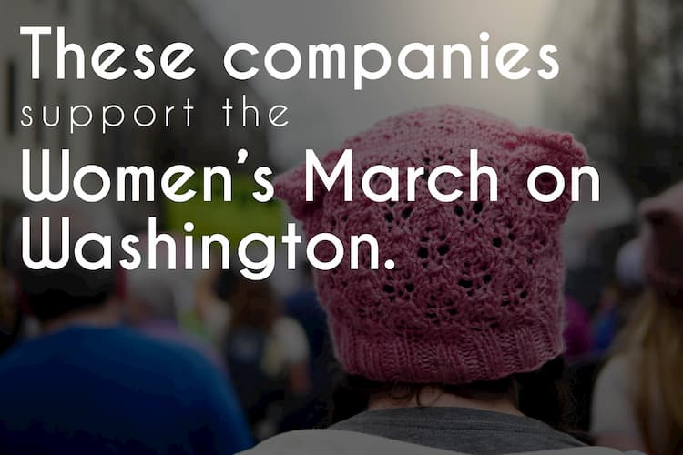 Banner reading These companies support the women's march on washington
