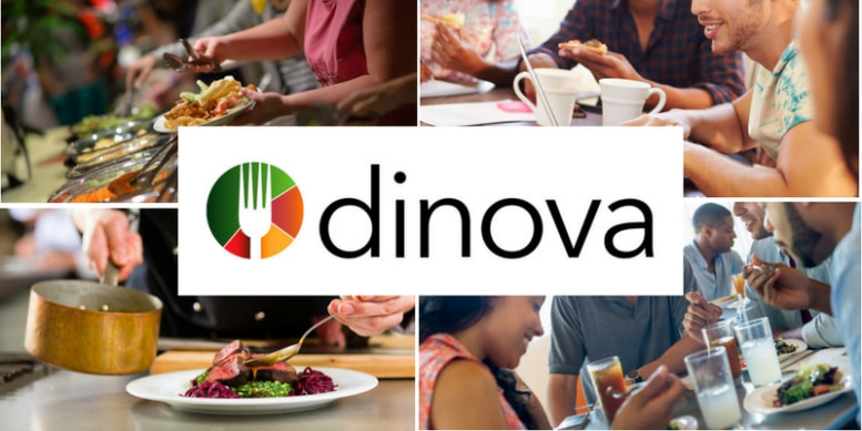 a graphic: the Dinova logo in the center of four images of food and people eating