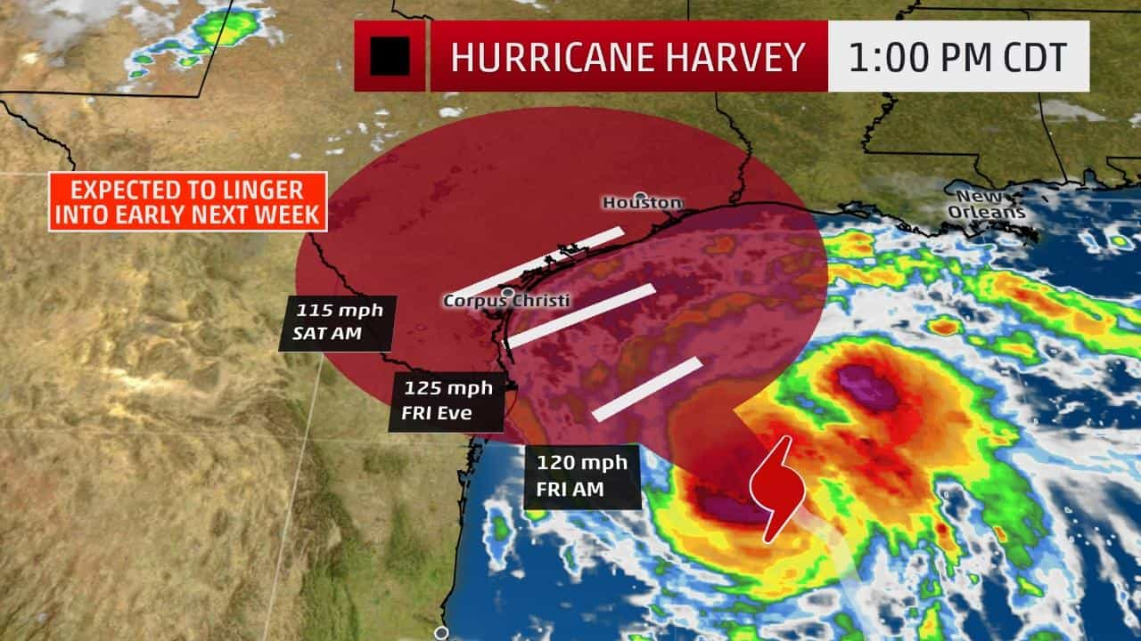 An image from Weather.com of Hurricane Harvey on a map.