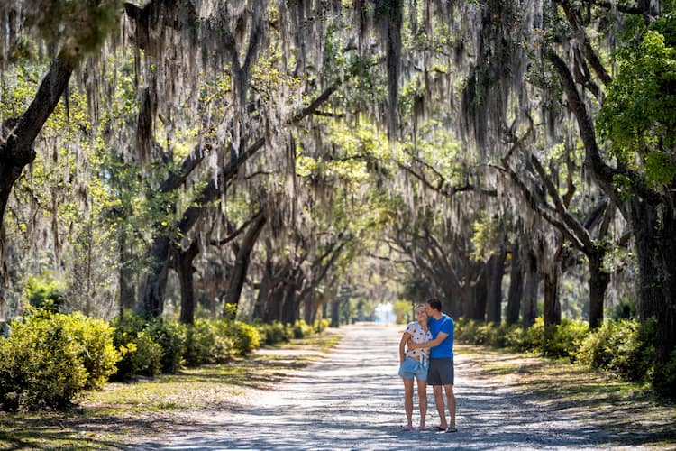 a couple poses for a picture among savannah's moss-covered trees while one kisses the other on the cheek