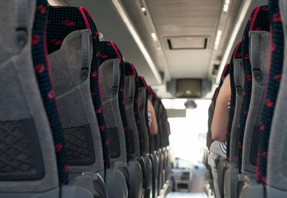 Red and gray charter bus seats
