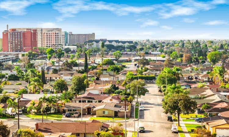 A panoramic view of Anaheim in the daytime