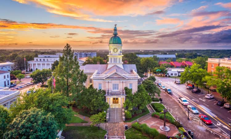 Aerial view of Athens Clarke County City Hall at sunset