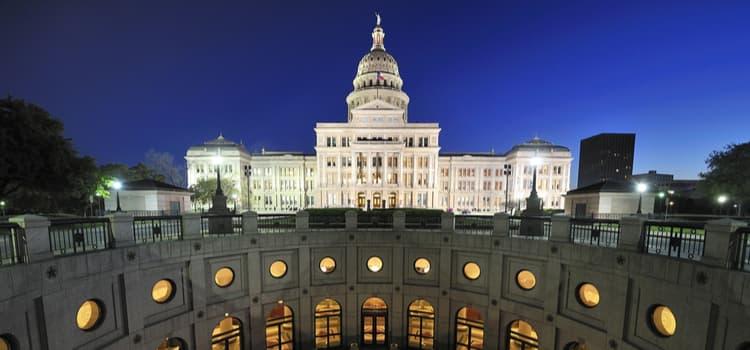 Austin Texas Sate Capitol building illuminated at night