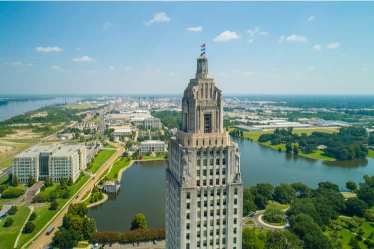 Aerial closeup of the Louisiana State Capitol Building