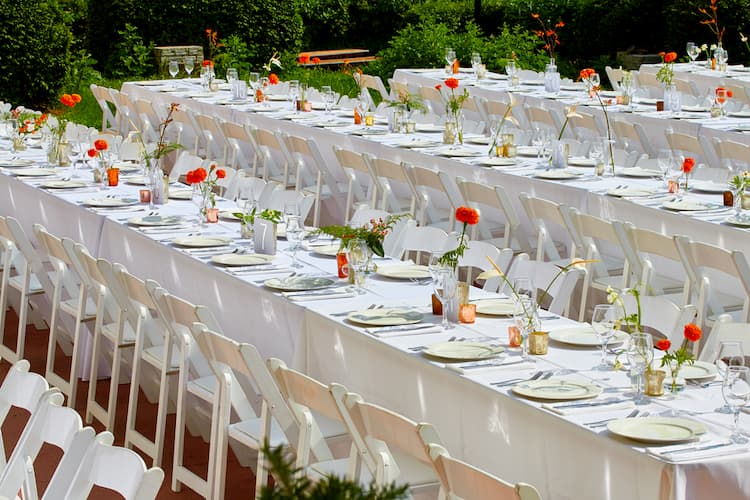 Table decorated for Belle Isle wedding
