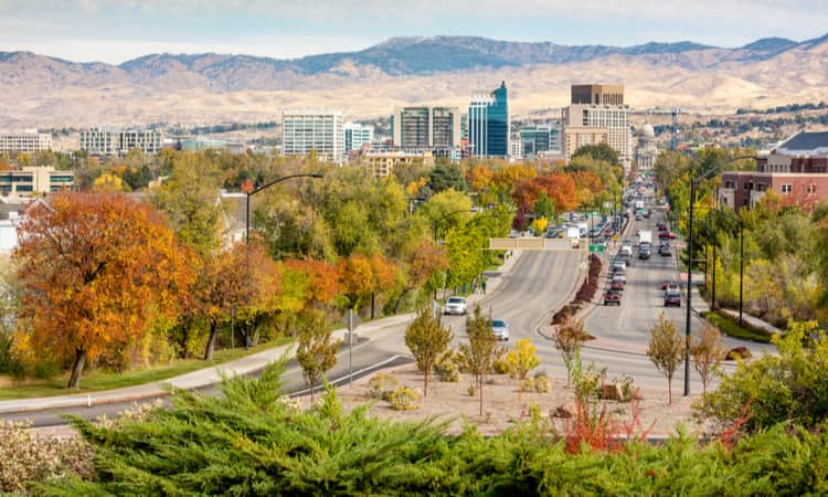 The downtown Boise skyline in the fall