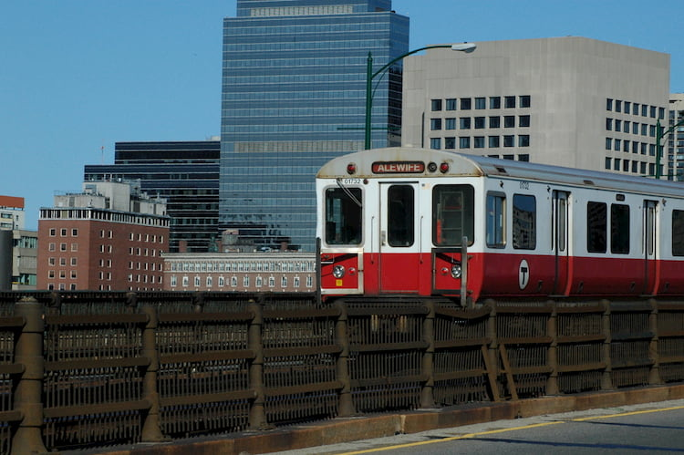 Boston red line T train above ground