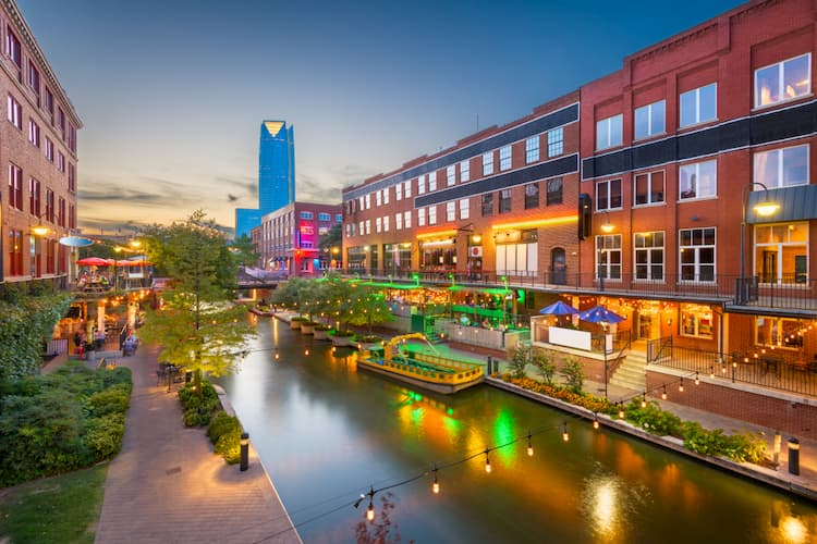 Bricktown in Oklahoma City at dusk