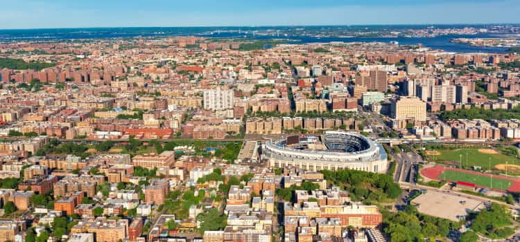 An aerial view of the Bronx in New York City