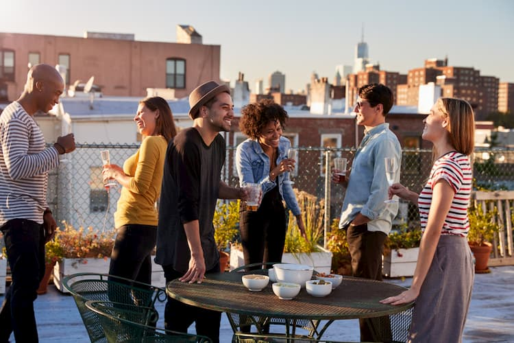 Young workers at Brooklyn rooftop party