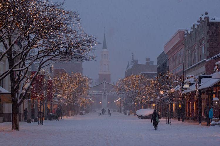 Burlington's downtown in winter