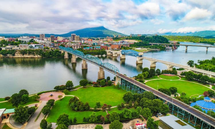 Aerial view of the Chattanooga skyline on a sunny day