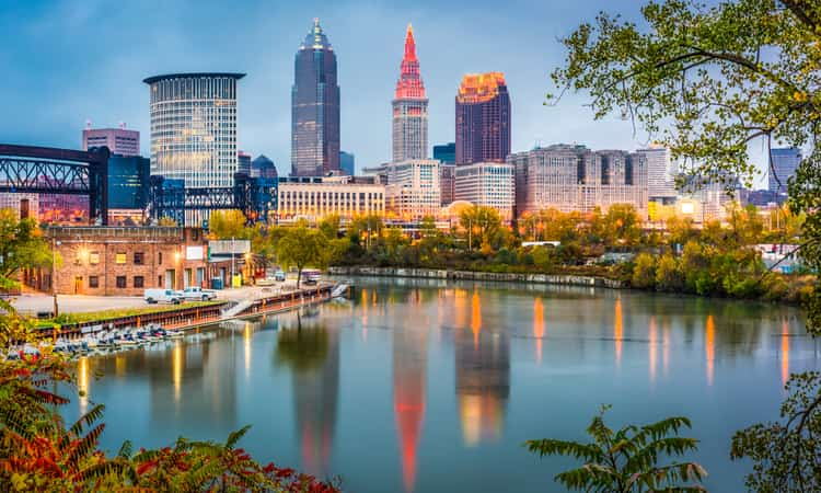 The downtown Cleveland skyline along the Cuyahoga river