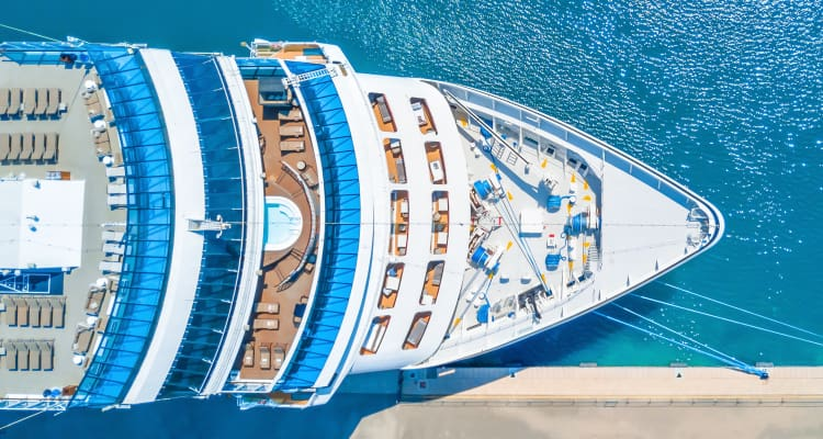 aerial view of the deck of a cruise ship in port