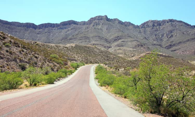 A road winds through the Franklin Moutains near El Paso