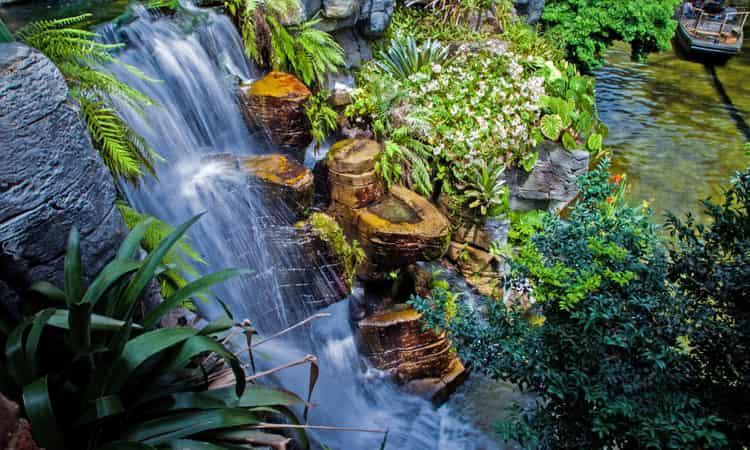 A waterfall at Gaylord Opryland Resort Gardens