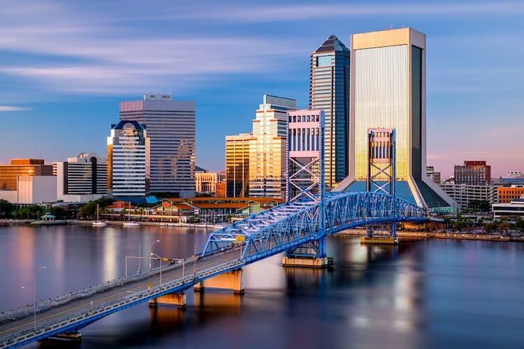 Jacksonville skyline with bridge