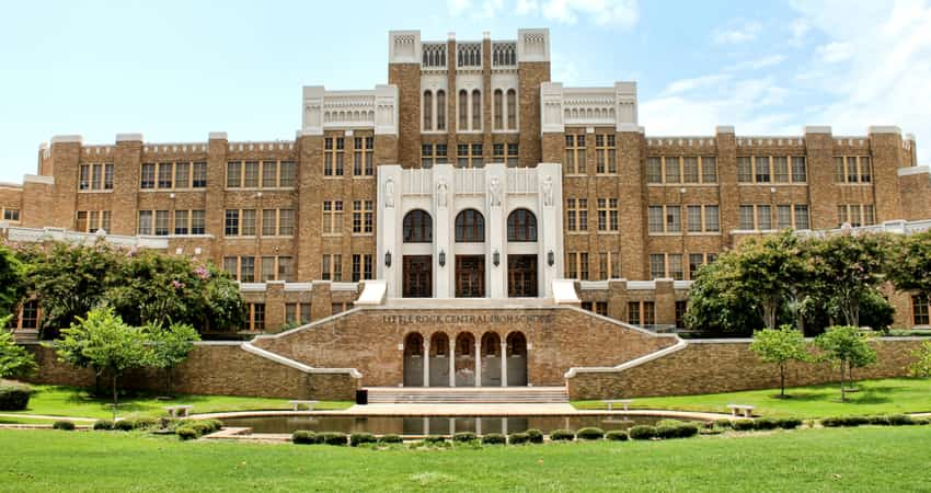The front of Little Rock Central High School