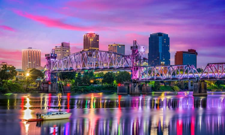 The Downtown Little Rock skyline in the evening along the Arkansas River