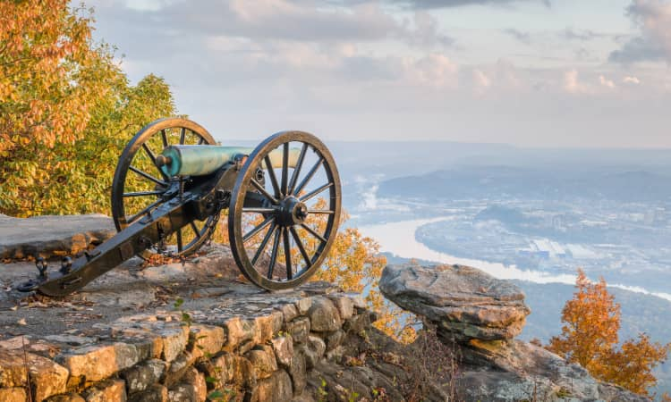 An old Civil War canon on Lookout Mountain, the city of Chattanooga visible below