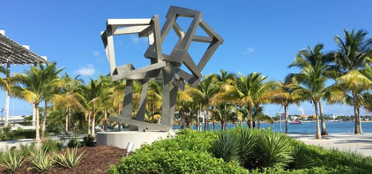 A geometric sculpture in the art garden at Miami's Pérez Art Museum Miami.