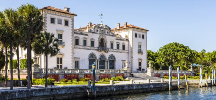 View of the Vizcaya Museum from the waterfront of Biscayne Bay.