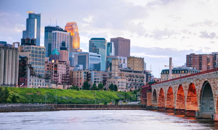 The view of Minneapolis from the Stone Arch Bridge
