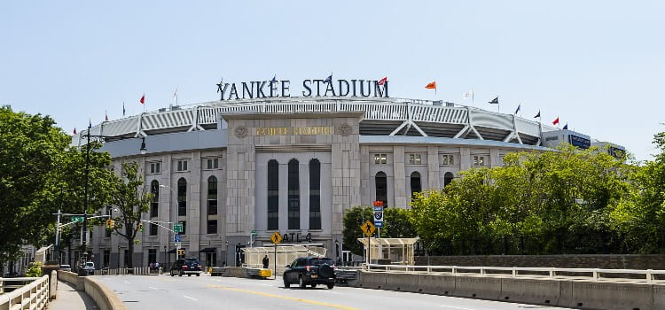 the exterior and entrance of yankee stadium