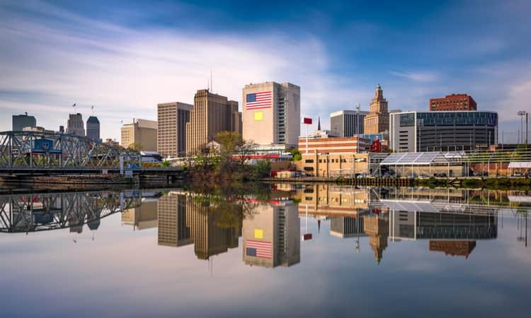 The Downtown Newark skyline along the Passaic River.