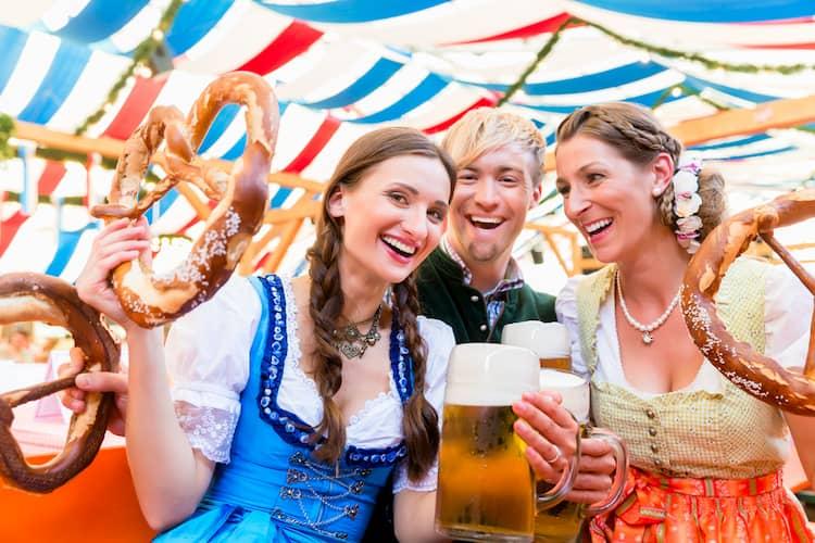 oktoberfest visitors celebrate in cincinnati with beer and costumes