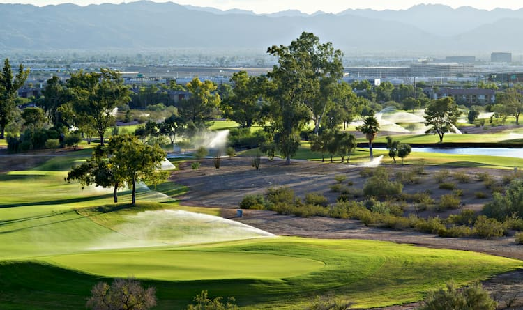 a view of a beautiful phoenix golf course, with manicured grass and lush trees