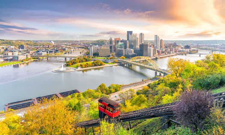 The downtown Pittsburgh skyline and an incline train car