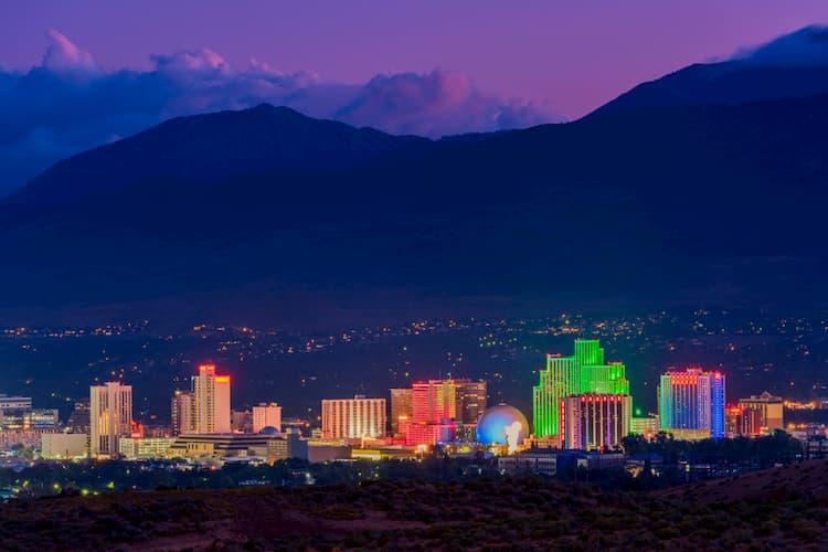 The Reno skyline at night
