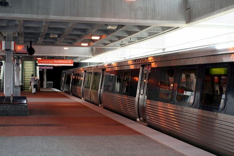 a MARTA train prepares for departure at a local station in atlanta