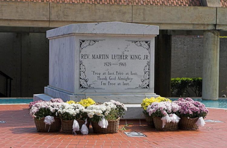 martin luther king's grave site, which lies at the king center in atlanta