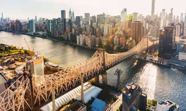 Aerial view of the Ed Koch Queensboro Bridge over the East River in New York City