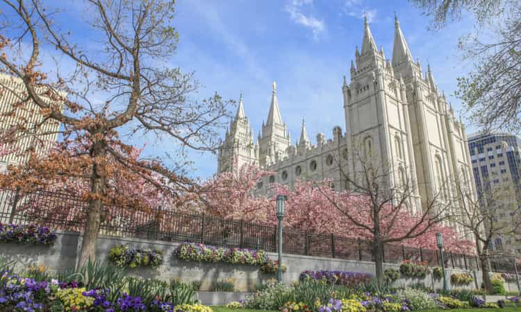 Temple Square surrounded by blooming flowers