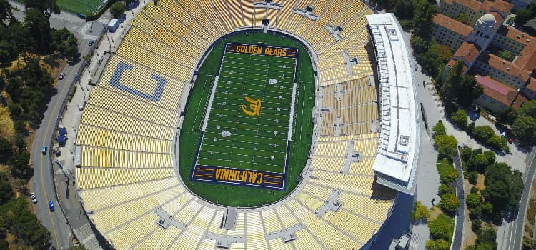 Aerial view of University of California Berkley football stadium