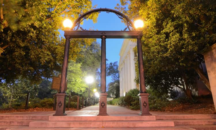 The historical and iconic steel arch at the entrance of the University of Georgia campus