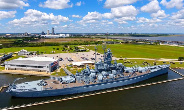 An aerial view of the USS Alabama Battleship Museum