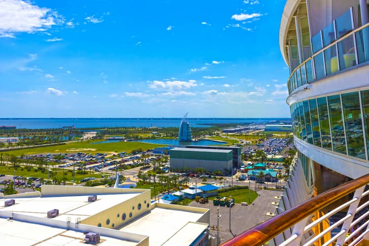 View of Port Canaveral from deck of cruise ship