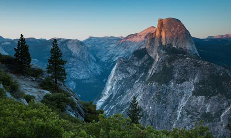 Half Dome in Yosemite National Park at Sunset